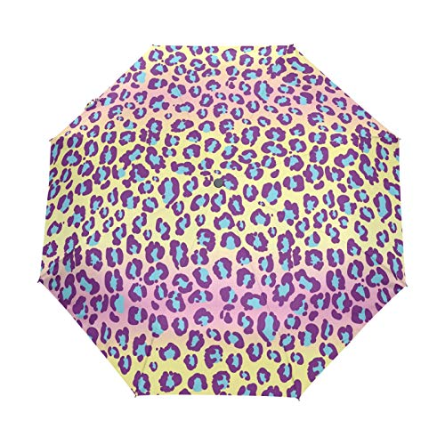 Kleiner Reiseschirm Winddicht Outdoor Regen Sonne UV Auto Compact 3-Fach Regenschirmabdeckung - Jaguar Hautmuster Leopard Wild Exotic Spots