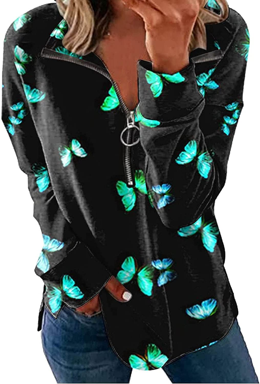 SPOORYYO Womens Zip Up Hoodie Plus Size Long Sleeve Striped Pullover Sweatshirt Casual Crewneck Tunic Jacket Coat