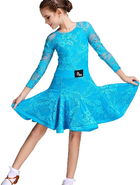 MoLiYanZi Lateinische Tanzkleidung für Kinder Samba Rumba übungskleidung Art Test Kleidung Latin Dance Kleid für Mdchen Cha Cha Performance Rock