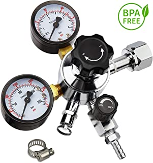 Keg Regulator CO2, MRbrew Kegerator Regulator CGA-320, 0-60 PSI Working Pressure, 0-3000 PSI Tank Pressure, Beer Regulator, Co2 Pressure Regulator with Safety Pressure Relief Valve