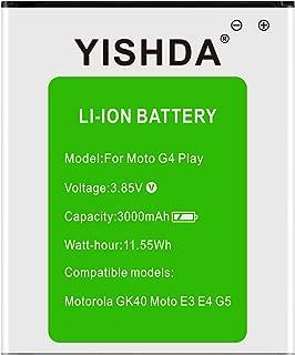 Moto G4 Play Battery, YISHDA 3000mAh Motorola GK40 SNN5976A Replacement Battery for E3 E4 G5 XT1601 XT1603 XT1607 XT1609 XT1675 XT1700 Cell Phones | Motorola GK40 Spare Battery