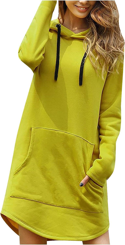 Long Casual Sweatshirt for Women Long Sleeve Drawstring Buttons Kangaroo Pocket Hoodie Dress