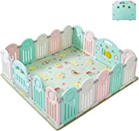 Baby Play Yard With Mat Fold Portable Safety Fence Playpens With Lock Door Infant Toddlers Activity Center Indoor Outdoor Kids Child Room Divider (Size : 18 panel)
