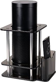 Echo Plus (エコープラス) 第1世代 対応 エコースピーカー スタンド、リモコン・スマートフォン ホルダー付き、アクリル製 Echo転倒を防止スピーカー台、ブラック