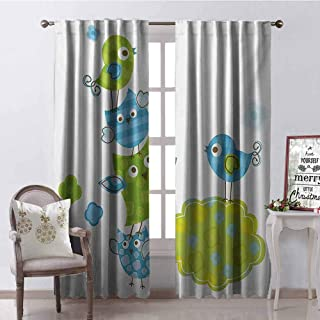 GloriaJohnson Nursery Blackout Curtain Lovely Happy Animals Playing with Each Other Singing Birds Colorful Art Design 2 Panel Sets W42 x L63 Inch Lime Green Blue