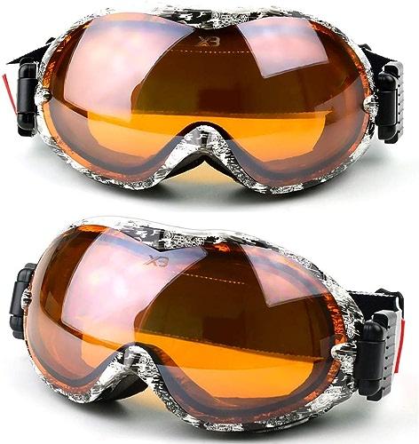 Hjhjghj Grandes Lunettes sphériques Anti-buée et à Double Couche de Ski de Myopia et Lunettes optionnelles MultiCouleures Lunettes de Ski (Couleur   gris)