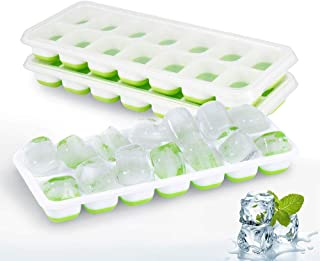 AMERTEER Ice Cube Trays with Lids, Adoric Ice Cube Trays [3 Pack] Easy-Release Silicone and Flexible 14-Ice Trays, Spill-R...