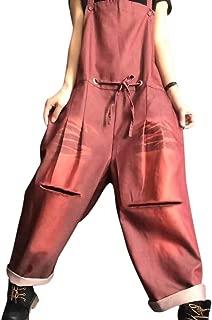 drawstring waist denim jumpsuit