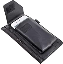 DFV mobile - Cover Vertical Belt Case with Phone Holder Pouch & Inner Pocket with Zipper for ALCATEL PIXI 4 (5) - Black