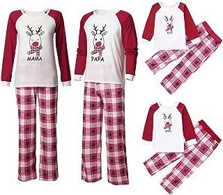 Family Matching Christmas Pajamas Sleepwear, Holiday Family Pjs Set Deer Tops+Plaid Pants