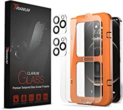 """Clarium 2 Pack Screen Protector Compatible with iPhone 12 Pro Max (6.7"""") + 2 Pack Camera Lens Protector Case Friendly Premium HD Clarity Tempered Glass Film, 9H Hardness - Clear"""