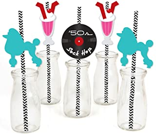 50's Sock Hop - Paper Straw Decor - 1950s Rock N Roll Party Striped Decorative Straws - Set of 24