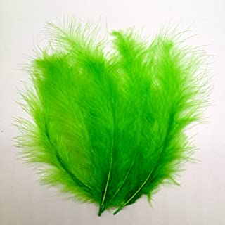 100pcs Turkey Flat Feathers Fluffy Feathers Fringe Trim Colorful Dyed Feather for Crafts Decoration Accessories 5.9inch (Green)