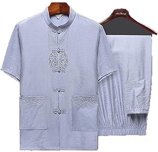 Traje Tang Hombre Ropa Tradicional China Trajes Abrigo de Manga Corta de algodón Hanfu Abrigo para Hombre Tops
