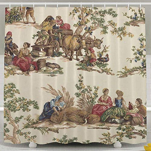 French Country Toile Print Bath Shower Curtain Bathroom Decor Sets For Bathroom Waterproof Polyester
