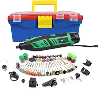 NEWONE 12V Rotary Tool Set Cordless Kit with 8 Attachments & 197 Accessories - Engraver, Router, Sander and Polisher- Include 2.0AH Battery, Charger and Plastic Case