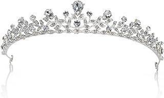 SWEETV Frizzante Cristallo Principessa Tiara Spettacolo Matrimonio Corona Capelli Accessori Della Sposa, Argento