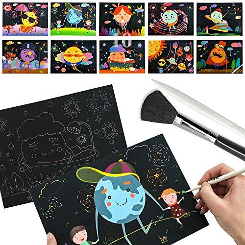 スクラッチペーパーセット 10枚入り カラースクラッチアート+水彩画兼用 無味 DIY手作り かわいい 子供 プレゼント(スクラッチペン+ブラシ+手提げパック付き) (天体)