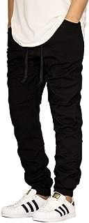 Men's Black Twill Drop Crotch Jogger Pants