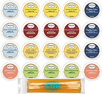 Twinings Herbal & Decaffeinated Sampler - 20 Count Assorted Keurig 2.0 K-Cups - With By The Cup Honey Sticks