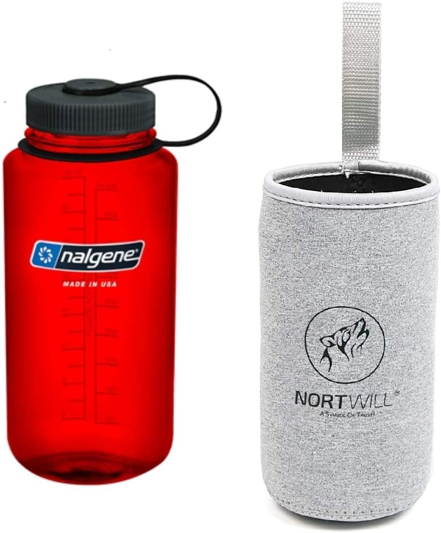 Tritan Wide Mouth 32oz Water Bottle BPA-Free Travel Bottles with Insulated Bottle Sleeve Nalgene Water Bottle Set Nortwill