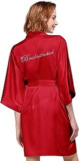 Satin Bridesmaid Robes Short Bridal Robes for Bridesmaid Gifts Soft Womens Kimono Robe Red L //ZS1604CPP03A//