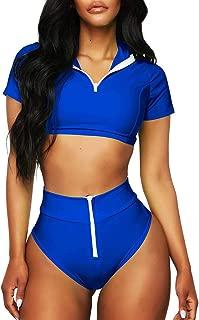 Women's Plus Swimwear, Women Sport Zipper Bikini Push-Up Pad Swimwear Bathing Swimsuit Beachwear Set