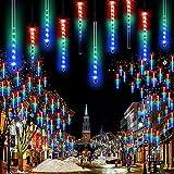 JJGoo Meteor Shower Rain Lights, Falling Rain Drop Christmas Lights 12inch-8 Tube, Waterproof Cascading Lights for Holiday Party Wedding Christmas Tree Decoration(Colorful)