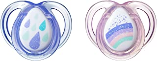 Tommee Tippee Closer to Nature Everday Pacifier, BPA-Free, Bottle Shapped Nipple, Pink, 0-6 Months, 2 Count (DESIGNS MAY V...