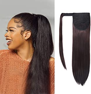 SEIKEA Natural Long Hair Ponytail Extension Clip in Straight Hair 28 Inch Synthetic Hairpiece - Reddish Brown