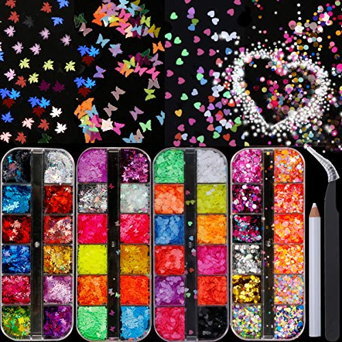 Butterfly Sequins Nail Art Maple Glitter - 48 Types Glow in The Dark Nail Art Decoration , 3D Holographic Nail Flake Metallic, Round Glitter Heart-Shaped Glitter