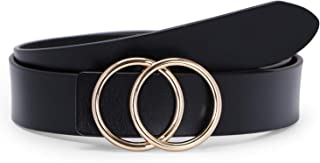 Fashion Designer Belts for Women Leather Belts for Jeans Dress Pants with Gold Double O-Ring Buckle