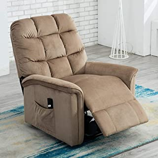Bonzy Home Electric Recliner Chair - Premium Power Lift Chair Recliner Lift Chairs for Elderly, Overstuffed Cozy Living Room Sofa Chair (Mocha) - Large Thick Padded Reclining Chair Lazyboy with Remote