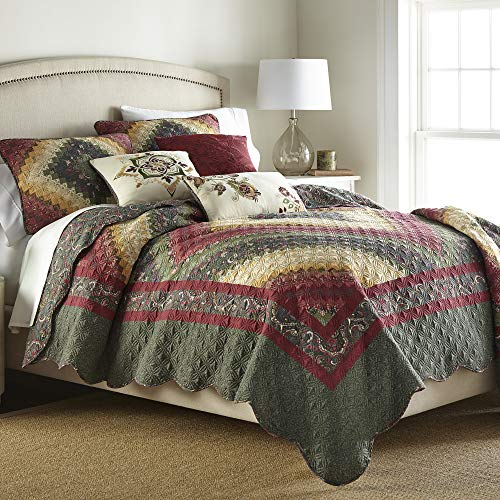 Donna Sharp King Quilt - Spice Postage Stamp Contemporary Quilt with Printed Multicolored Pattern - Machine Washable
