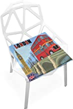 TSWEETHOME Comfort Memory Foam Square Chair Cushion Seat Cushion with UK Flag London Bus Bridge and Big Ben Chair Pads for Floors Dining Office Chairs