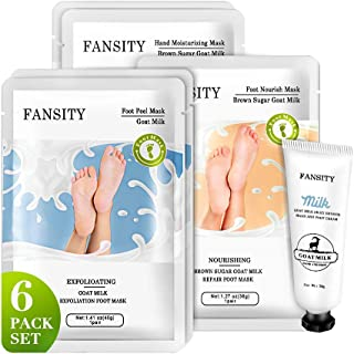 (6 Pack)FANSITY Foot Peeling Mask & Hand Mask Set,Exfoliating & Nourshing Peel Socks Gloves for Cracked Heels Dry Feet Han...