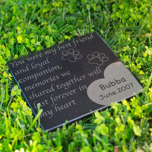 Lara Laser Works Personalized Dog Memorial Customized Dog Grave Marker Custom Headstone - DSG#5 - Aged Granite