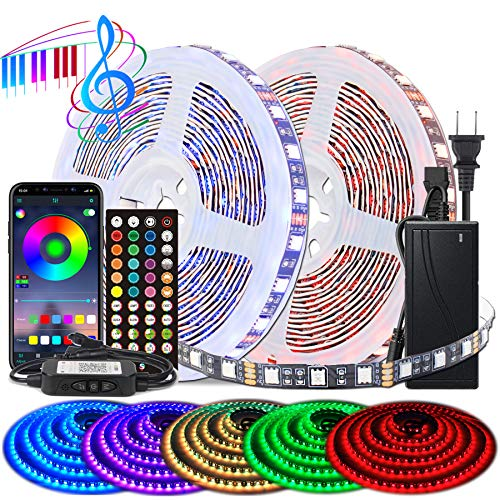 BIHRTC Led Strip Lights 5050 Rgb 600leds 32.8ft Led Lights Music Sync App Control Color Changing Rope Lights with Built-in Mic Remote Led Rope Strips Light Lighting for Bedroom Home Party