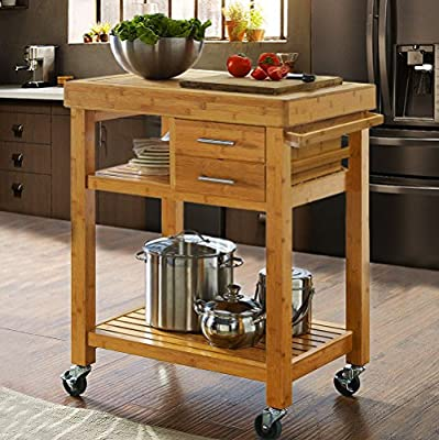 Clevr Rolling Bamboo Wood Kitchen Island Cart Trolley, Cabinet w/Towel Rack Drawer Shelves from Clevr