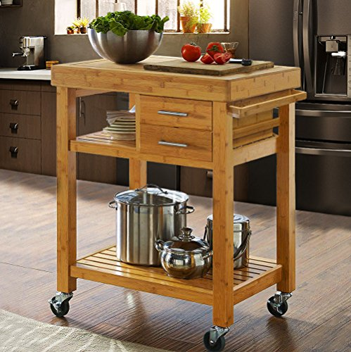 Rolling Bamboo Wood Kitchen Island Cart Trolley, Kitchen Trolley Cart on Wheels, Rolling Kitchen Cart with Drawers Shelves, Towel Rack, Locking Casters