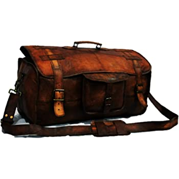 Urban Dezire Leather Duffel Travel Gym Overnight Weekend Leather Bag Sports Cabin
