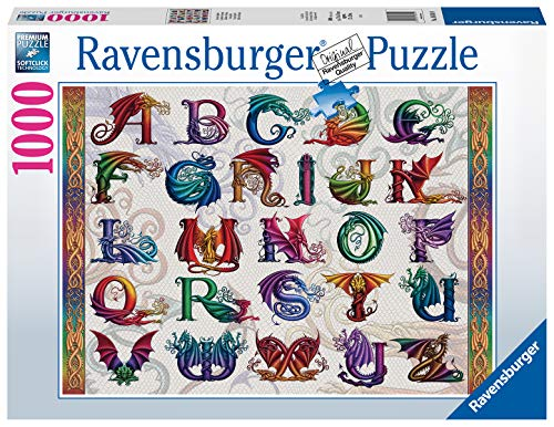 Ravensburger Dragon Alphabet 1000 Piece Jigsaw Puzzle for Adults - Every Piece is Unique, Softclick Technology Means Pieces Fit Together Perfectly