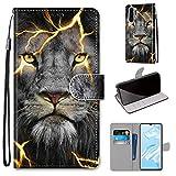 Miagon Flip PU Leder Schutzhülle für Huawei P30 Pro,Bunt Muster Hülle Brieftasche Case Cover Ständer mit Kartenfächer Trageschlaufe,Wütend Löwe -