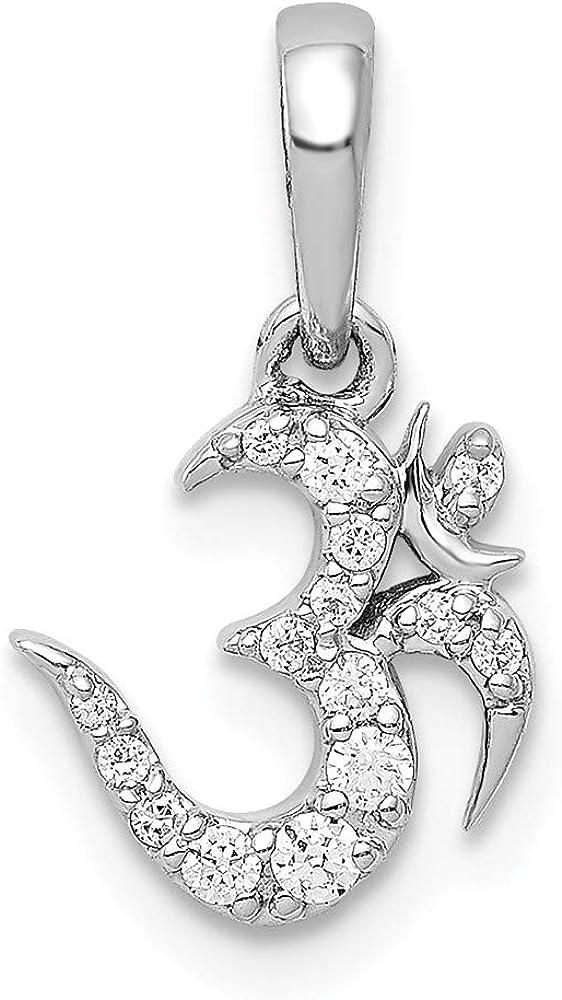 Solid 14k White Gold 1 10ct. Charm Diamond Cheap SALE Start Om Symbol Pendant Max 51% OFF
