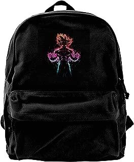 MIJUGGH Canvas Backpack Dragon Ball Z Goku Ultra Instinct Fire Multi Rucksack Gym Hiking Laptop Shoulder Bag Daypack for Men Women