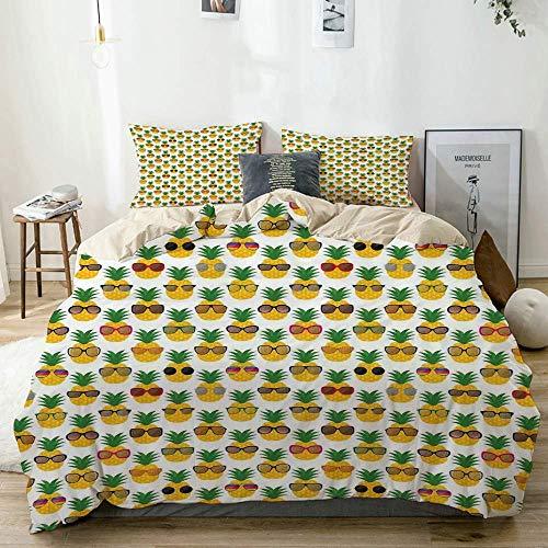 Juego de funda nórdica beige, piñas con gafas de sol, divertido arreglo con frutas exóticas, juego de cama decorativo de 3 piezas con 2 fundas de almohada, fácil cuidado, antialérgico, suave y liso