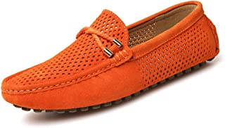 shangruiqi Men's Driving Loafers Breathable Perforation Genuine Leather Vamp Penny Moccasins Anti-Skid (Color : Orange, Size : 42 EU)