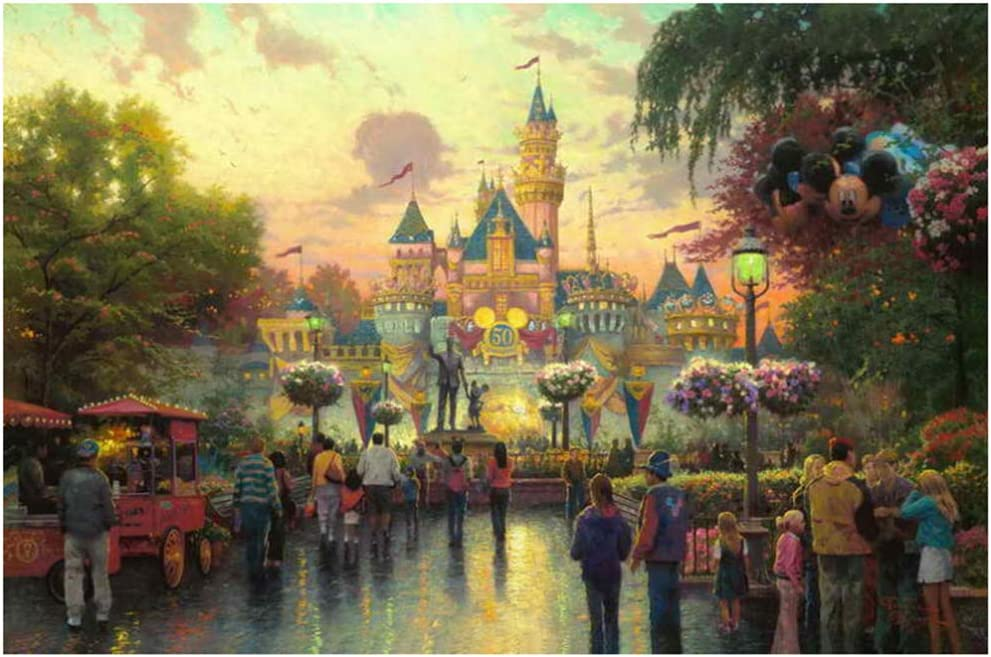 HYFBH Framed Decor Disneyland Anniversary Free shipping / New Print Great interest Canvas Living HD