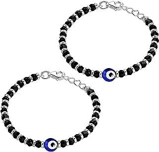 KUKSHYA JEWELLERS Exclusive 925 Evil Eye Nazariya Bracelet with Black & Silver Beads (Crystal) for Baby Boys & Girls