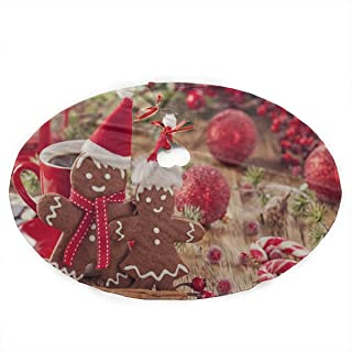 Jnseff Christmas Tree Skirt Christmas Gingerbread Man and Red Bells Print Christmas Skirt Tree Polyester Kids Christmas Tree Skirt Carpet for Party Holiday Decorations Xmas Ornaments